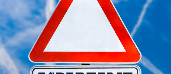 Conceptual image of a triangular white traffic warning sign with the word - Aspartame