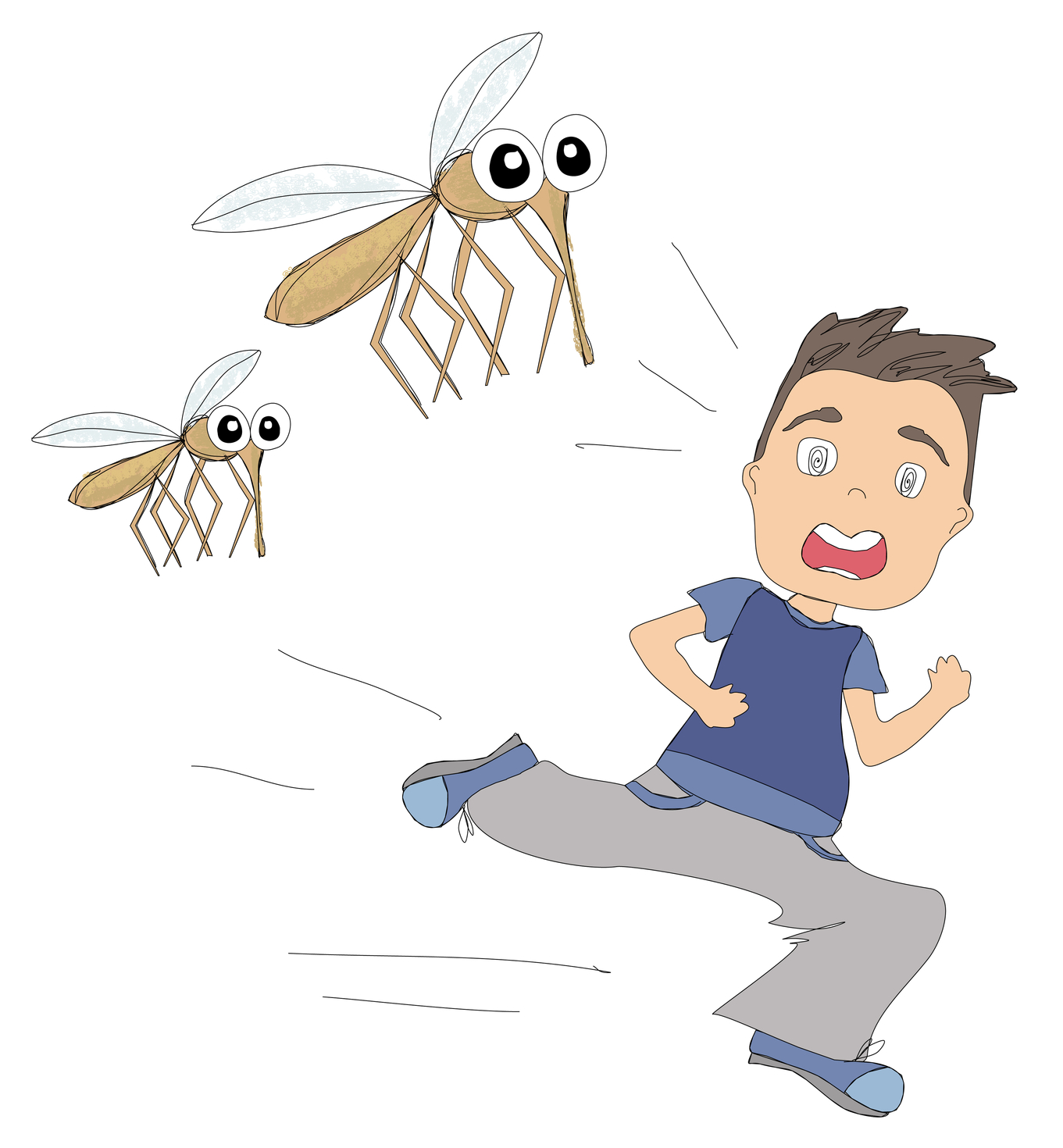 Child running away from home - Cartoon Of Boy Running Away From Mosquitoes