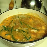 Dutch oven filled with Moroccan Chicken and Butternut Squash soup
