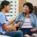 nurse visiting a senior client in her home
