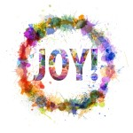 Joy concept, watercolor splashes as a sign isolated on white