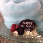 blue cotton candy birthday cake