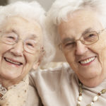 Two senior women friends