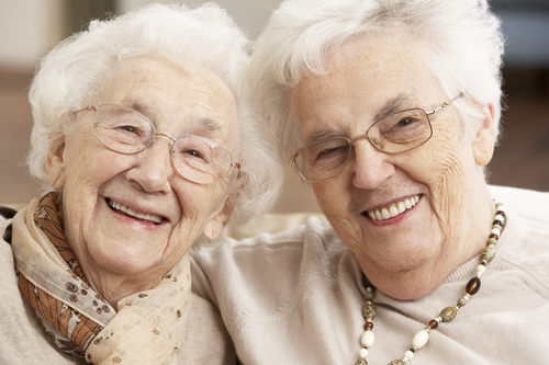 Two senior women friends