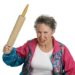 elderly lady with a rolling pin clenched in her fist