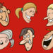 cartoon image of 6 laughing faces